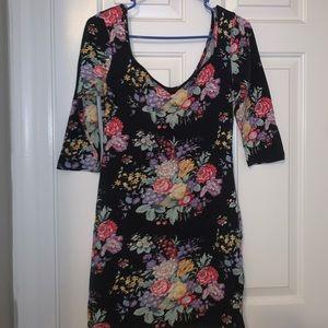 Topshop floral body con dress, size medium